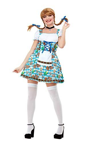 Smiffys 47788L Oktoberfest Beer Maiden kostuum, Vrouwen, Blauw