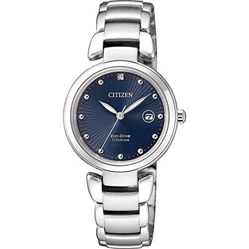 Reloj de Cuarzo Citizen Lady 250, Eco Drive, 29mm, 5 ATM, Azul. EW2500-88L