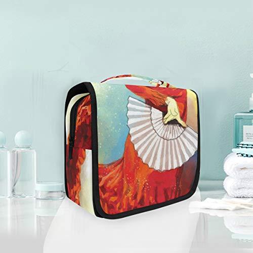 FAJRO - Neceser de viaje con abanico (tamaño grande), diseño de bailarina...