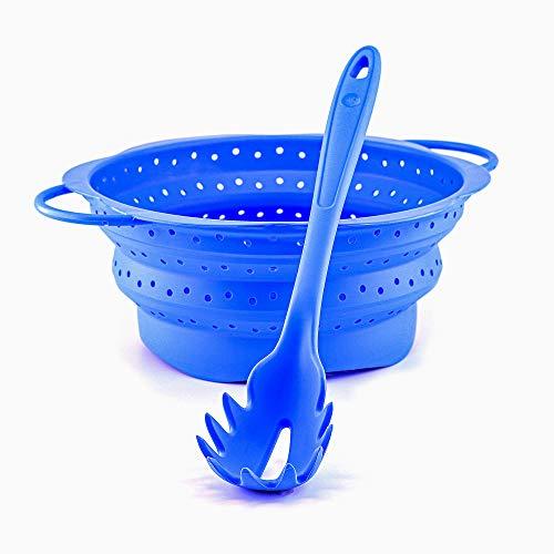 Kochblume Spaghetti Set | Pastalöffel mit faltbarem Sieb aus Silikon (hellblau)
