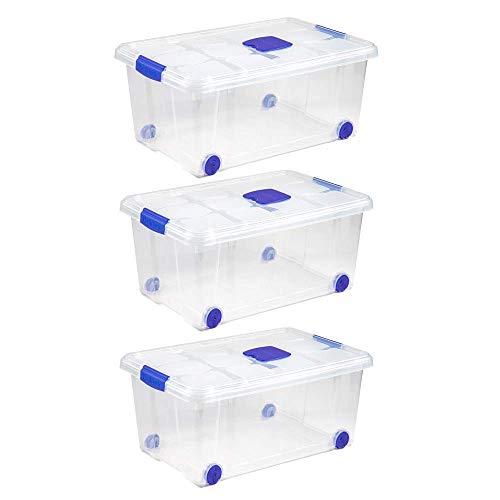 Unishop Lote de 3 Cajas de Almacenaje de Plástico con Ruedas y...