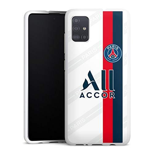 DeinDesign Silikon Hülle kompatibel mit Samsung Galaxy A51 Case weiß Handyhülle Paris Saint-Germain Trikot PSG