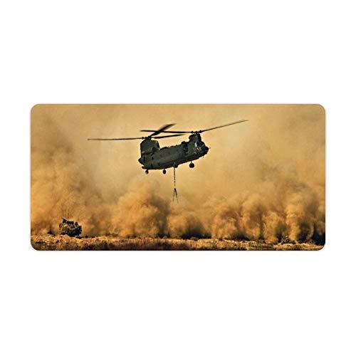 Tapete de Mesa con Bloqueo de helicóptero sobre el Desierto, tamaño Grande, Alfombrilla de ratón, Rectangular, Resistente, Simple y Elegante, color916, 40 * 90 * 0.3cm