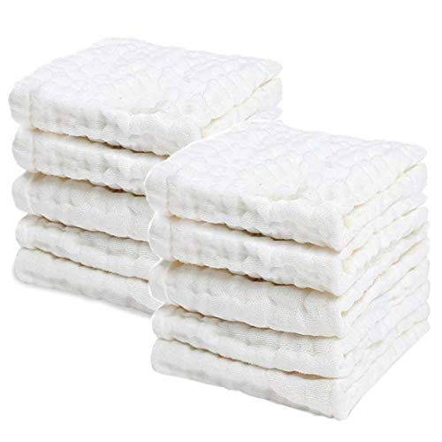 PPOGOO Baby Muslin Washcloths Natural Purified Cotton Baby Wipes Soft Newborn Baby Face Towel Baby Shower Gift 10 Pack Multipurpose