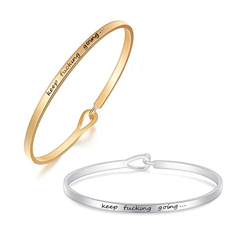 sloong Inspirational Message Engraved Thin Cuff Bangle Hook Bracelet Set for Gift