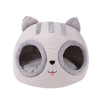 Wenhe Panier pour chat - Couverture douce et lavable - Forme de tête de chat - Niche confortable pour animal de compagnie avec lit doux et lavable