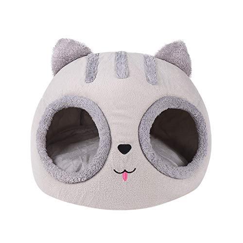 Wenhe Cama para gatos con forma de cabeza de gato, cómoda caseta para mascotas, con cama suave y lavable