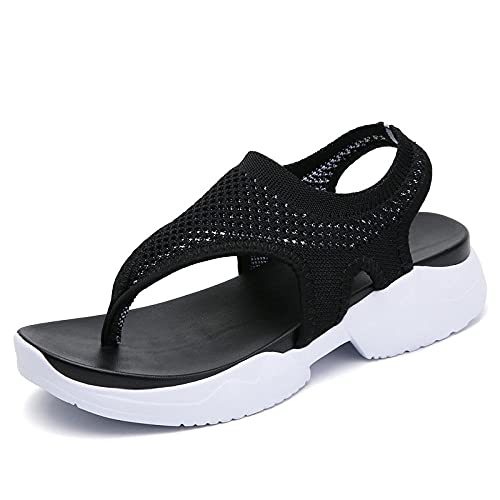 Sandalias ortopédicas,Tela Flying Casual Grack Sandalias, Cien Sandalias de Gran tamaño Inferior Espesor-Negro_38,Pantuflas Transpirables
