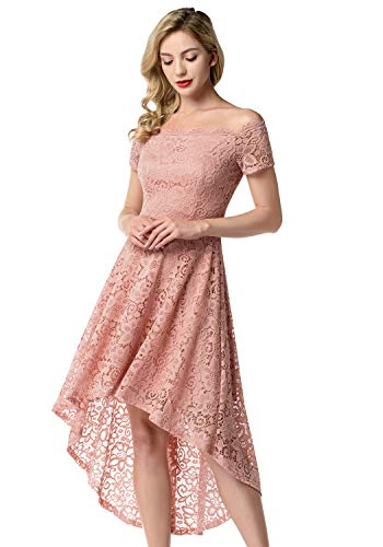 Aupuls Damen Elegant Spitzenkleider Vokuhila Schulterfrei Ballkleid Abendkleid Hochzeit Cocktailkleider Blush M