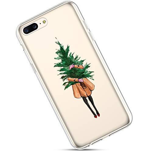 Clair Coque pour OnePlus 5,Étui Housse OnePlus 5,OnePlus 5 Case Transparente Crystal Clear Souple Silicone Housse de Protection avec Motif Christmas De noël Flocon de Neige Antichoc Slim Case