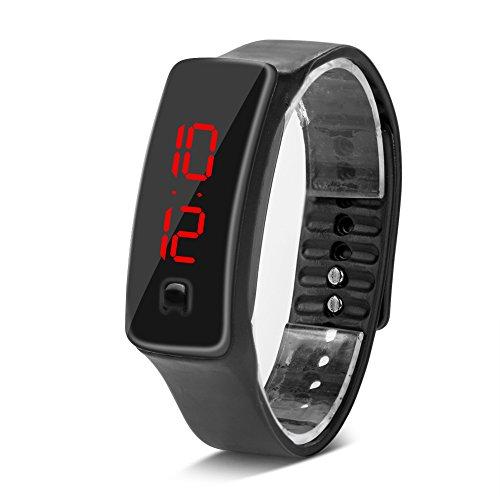 Deportes Reloj LED con Correa de Silicona Reloj Digital de Pulsera con Pantalla Electrónica de 12 Horas para Niños 8 Colores(Negro)