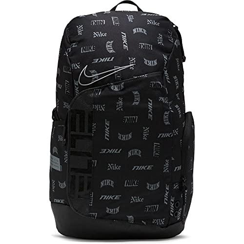 Nike Hoops Elite Printed - Mochila de baloncesto, color negro, negro y gris