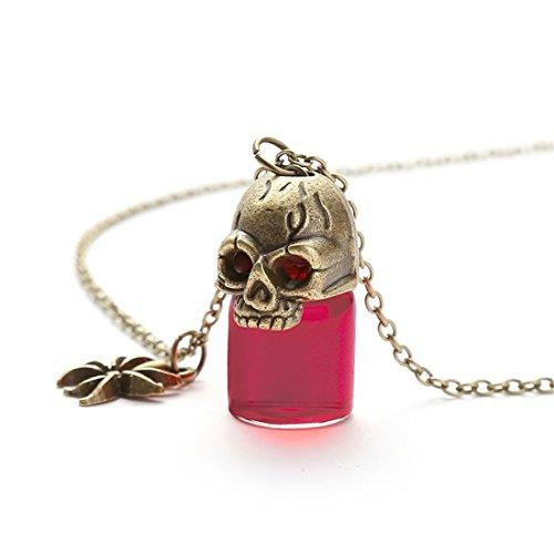 kakupao Skull Glass Bottle Necklace, Potion Bottle Pendant, Blood Bottle Gothic Necklace, Gift for Women (5)