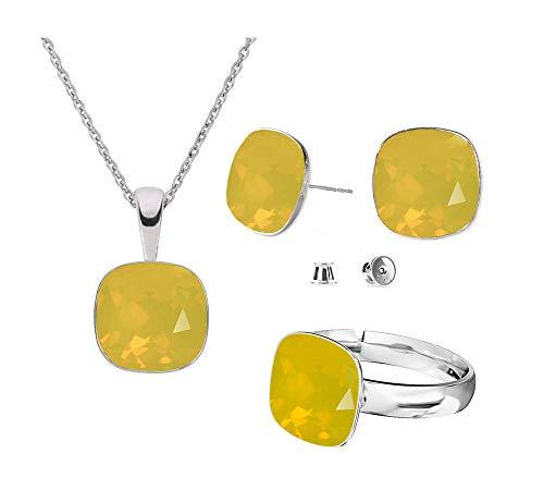 Beforya Paris – Juego de pendientes de plata 925 con diseño de cuadrados – Opal amarillo – Juego de pendientes – Collar y anillo ajustable de Swarovski – Joyas con caja de regalo gratis