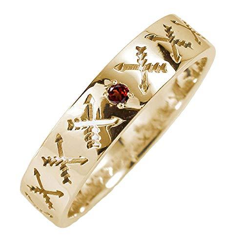 アルマ リング 18金イエローゴールド ガーネット 誕生石 クロスアロー 矢 指輪 4.5号 【161019w02】