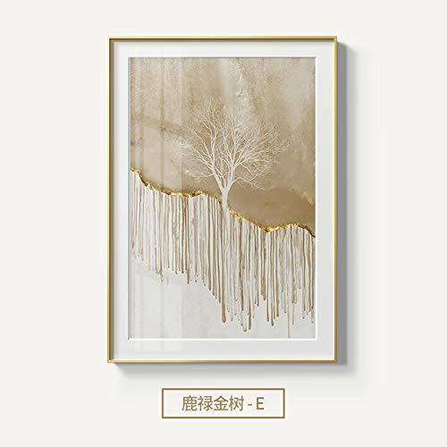hetingyue Abstracte gouden roodwild in frameloze boszeildoek maken affiche en drukken modern kunstschilderij van de woonkamerslaapkamer