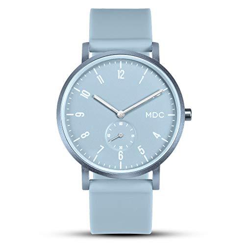 Damenuhr Blau Unisex Analog Quarz Uhr Lässig Ultra Flach Minimalistisch Damen Armbanduhr Großes Leuchtende Wasserdicht mit Silikon Armband by MDC