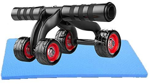 JFZCBXD 4 Rodillo Rueda Ejercicio Abdominal AB Rueda de Rodillo con Extra Gruesa Antideslizante de la Rodilla Mat Body Fitness Entrenamiento de la Fuerza de la máquina,Negro