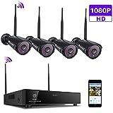 Ctronics 1080P überwachungskamera Set,4CH drahtloses 2.4G Videoüberwachung NVR überwachungkamera System mit 4 * 1080P IP Kameras Indoor&Outdoor mit Nachtsicht(HDD Nicht enthalten)