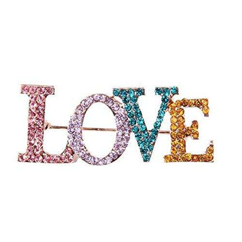 Cosanter Art Deco Broche Alfiler con Diamantes Artificiales En Forma De Love para Boda Fiesta Color Multicolor