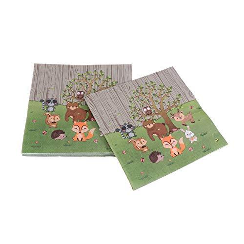 20 toallas desechables de papel de impresión de la selva de animales servilletas servilletas de niños cumpleaños baby shower suministros fiesta cumpleaños suministros