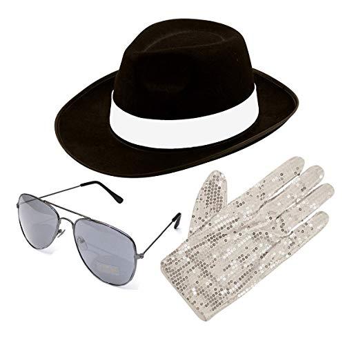 Desconocido Michael Jackson Estilo 3 piezas set sombrero Guante AVIATOR SHADES 1980s Disfraz (Negro)