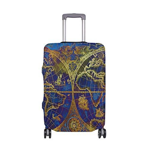 Funda Protectora para Maleta de Viaje con diseño de mapamundi Vintage, para Adultos, Mujeres, Hombres, Adolescentes, para 18 – 20 Pulgadas