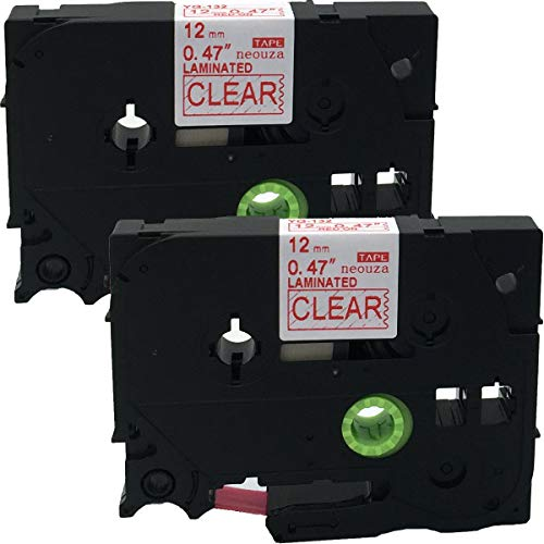 NEOUZA 2PK Compatible for Brother P-Touch Laminated TZe TZ Label Tape Cartridge 12mm x 8m (TZ-132 TZe-132 Red on Clear)