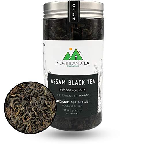 USDA Organic Assam Black Tea - Single origin - Whole Leaf - Hot & Iced Tea, Kombucha, Milk Tea, Lemon Tea, Bubble Tea - World friendly tea - Freshest production in every month - 70g (2.46oz) Northlandtea