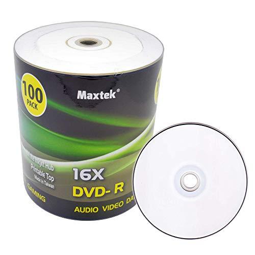 Maxtek Premium Grade White Inkjet HUB Printable DVD-R DVDR 16x Blank Disc, 4.7GB, 120min. 100 Pcs Pack.