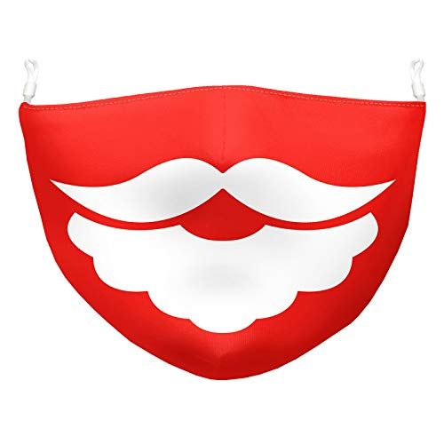 Caopixxzful Adults Cosplay Santa Claus Face_Mask, Big White Moustache Printed Dust_Mask Reuasbale Washable Face Bandana for Women Men Christmas Party Rave Masquerade Costumes