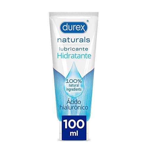 Durex Naturals Hidratante Lubricante Base Agua, Ácido Hialuronico, 100% Natural sin Fragancia, Colorantes Ni Agentes Irritantes - 100ml