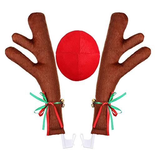 Sahgsa Disfraz De Reno Decoraciones Navideas Astas De Navidad para Camin SUV Coche Reno Nariz Roja Disfraz De Coche Reno Decoracin De Coche