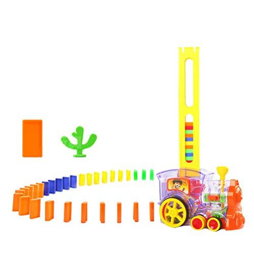 STOBOK Giocattolo del Treno del Domino Costruzione Automatica e accatastamento Giocattolo per Bambini Regali creativi Giocattolo educativo per Domino 3-7 Anni 60 Pezzi (Trasparente)