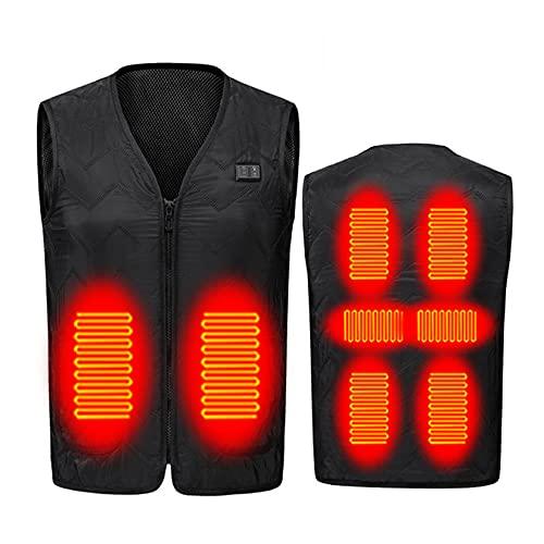 Way bocke Chaleco térmico de Invierno, calefacción eléctrica USB infrarroja 3 Engranajes Chaleco térmico Ajustable para Hombres para Deportes al Aire Libre,Negro,5XL