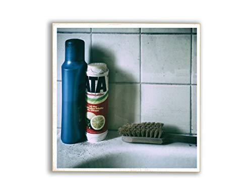 Ata, Badewanne, Badezimmer, Foto auf Holz, im Quadrat, 13 x 13 cm, Lost Place, marode