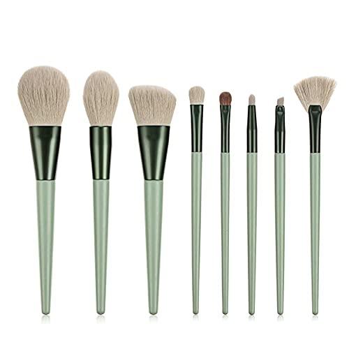 KFGF Juego de 8 pinceles de maquillaje, de pelo de crin, para sombra de ojos, polvos, para reparación, herramientas de belleza, color verde, 8 juegos de pinceles de maquillaje + cubo