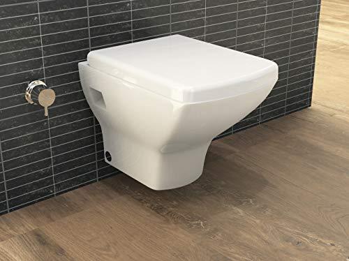 Aqua Bagno | Design Dusch-WC | Taharet | Inkl. abnehmbarer Softclose Sitz | Hänge-WC | Toilette mit Bidet-Funktion | Tiefspülklosett | Geschlossener Unterspülrand | Keramik | 505 x 345 x 337 mm