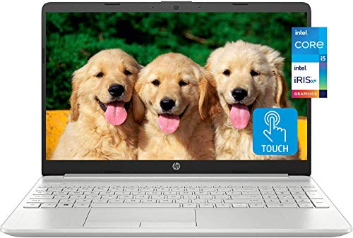 "2021 Newest HP 15 Business Laptop, 15.6"" HD Touchscreen, 11th Gen Intel Core i5-1135G7 Processor, Intel Iris Xe Graphics, 16GB RAM, 512GB SSD, Windows 10 Home, Backlit Keyboard, Silver, KKE Mousepad"