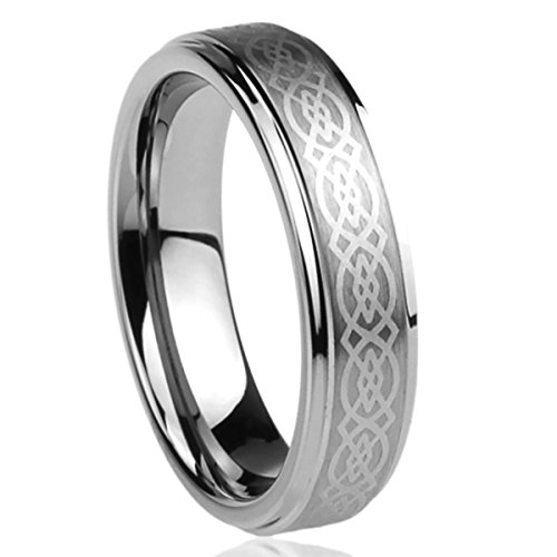 Prime Pristine Titanium Wedding Band Ring for Men & Women Laser Etched Celtic Knot Design Ring for Men & Woman SZ: 11.5