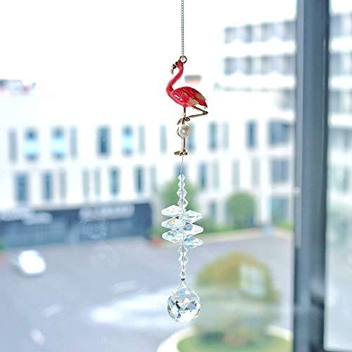 YU FENG Flamingo Crystal Fantasy Hanging Cascade Suncatcher/Rainbow Maker + 20mm Crystal Ball