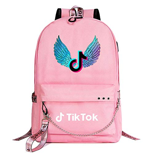 Outdoor Lightweight School Backpack Ladies USB Charging Port Travel Hiking Backpack 45cm*30cm*15cm Pink