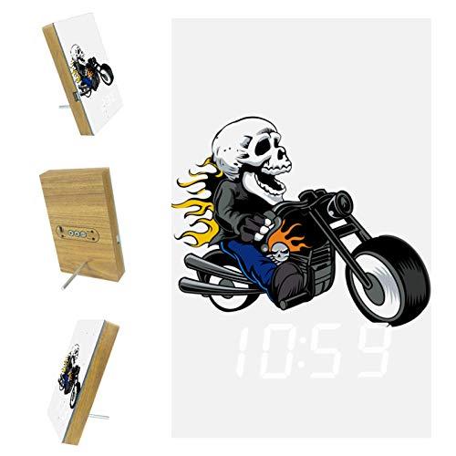 Vockgeng Digitaler Wecker Skelett Motorrad LED Tischuhr mit Temperaturanzeige,USB Wiederaufladbar Reisewecker mit 3 Alarmen, Schallinduktion Funktion, 12/24H 15.7x10x2.3cm