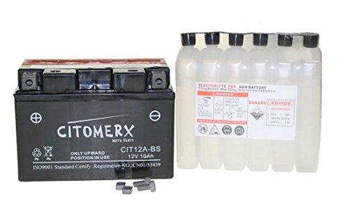 YT12A-BS YTX12A-BS Batterie 12V 10AH, Kymco Downtown, Suzuki Bandit Hayabusa, Aprilia Tuono, SYM, SMC Barossa
