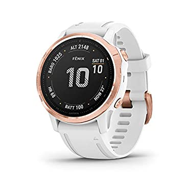 Garmin fenix 6S Pro Multisport GPS Smartwatch (Rose Gold-Tone/White Band)
