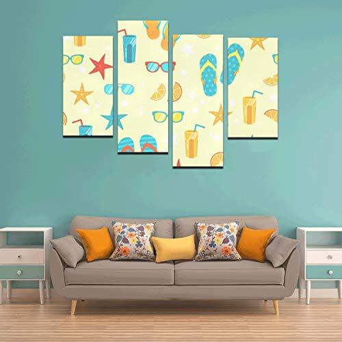 Zemivs 4 Stücke Wände Malen Strand Sand Ozean Genießen Wandfarbe Für Küche Kein Rahmen Wohnzimmer Büro Hotel Wohnkultur Geschenk