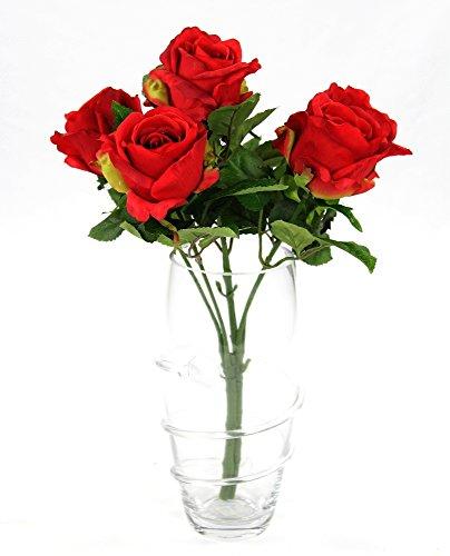 Kunstpflanze Rose - Strauß 43cm - 6 Blüten rot