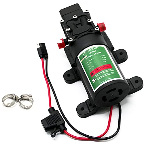 LONGRUN Fresh Water Pump 12V DC Diaphragm Pump with Adjustable Pressure Switch 4.5L/Min 1.2GPM Self Priming Sprayer Pump with 2 Hose Clamps 85PSI Agriculture Pump for RV Camper Marine Boat Garden Lawn