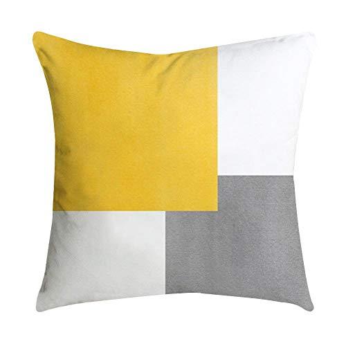 VJGOAL Impresión Amarilla Suave cómodo Funda de Almohada Sofá Cintura del Coche Cojín Cuadrado Cubierta Decoración para el hogar(45_x_45_cm,Multicolor3)