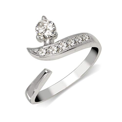 JewelryWeb Solid 925 Sterling Silver Adjustable Modern Bypass Cubic Zirconia Toe Ring (8mmx15mm)